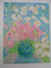 """Lithographie Originale de Michèle GOUR """" Bouquet de roses I """" ."""