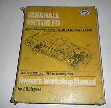 Classic Car Vauxhall Opel Victor FD  Workshop Repair Manual Book 1967-1975