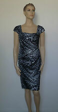 TADASHI SHOJI Leopard Sheath Dress Grey Black Cocktail Ruched NWT 4