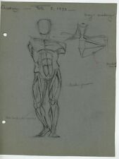 VINTAGE 1930'S GRAYS ANATOMY MUSCLES CHARCOAL PASTEL DRAWING ART OLD SKETCH