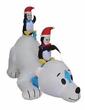 6 Foot Long Christmas Inflatable Penguins Fishing on Polar Bear Yard Decoration