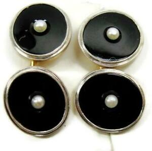 14K Yellow Gold Fine Cultured Pearl Inset Round Black Onyx Antique Cufflinks
