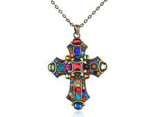 Old Medieval Vintage Inspired Colorful Crystal Rhinestone Cross Pendant Necklace