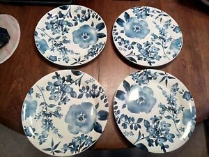 "Set of 4 Salad Plates, Pier 1 AZURE FLORAL Blue Flowers Ironstone 8 7/8"""