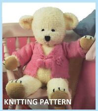 (321)  Teddy Bear COPY Knitting Pattern and Jacket in Faux Fur Chunky and DK