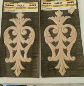 Lot of 2 Ornamental Mouldings Limited New #3011 Unpainted Wood Applique