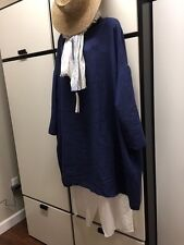 Veritecoeur Tunic Dress Navy Linen Pullover Dropped Shoulder One Size