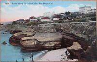 La Jolla Cliffs, San Diego, CA 1910 Postcard - California Cal