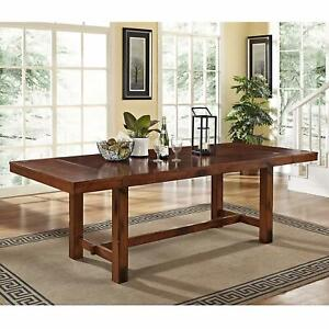 Large Expandable Dining Table Trestle 2 Leaves Rustic Seats 8 Wood Dark Oak