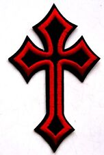 Cross Crucifix Patch Embroidered Iron Sew On Heavy Metal Christian Jesus Christ