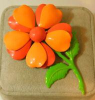 Vintage Coral Melon color Enamel Long Stem Daisy Flower Brooch Pin 4h 33