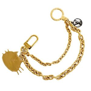 Louis Vuitton Porte Cles Chenne MP2285 Gold Plated Catgram Charm Key Ring Chain
