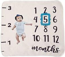 Monthly Milestone Baby Blanket with Blue Frame: Premium Quality and Density