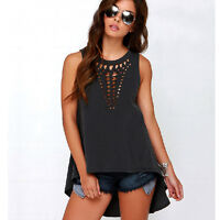 Women Hollow Out Tank Top Sexy Vest Sleeveless Blouse Casual Loose Shirt Crochet