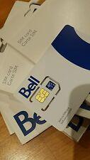 LOT of 100 Bell standard micro dual combo regular LTE Sim Card wholesale bulk