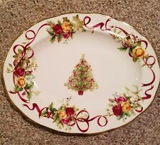 royal albert old country roses christmas platter-NEW
