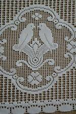 Vintage Doves vignette cotton cafe curtain Nottingham lace valance bris-bise cra