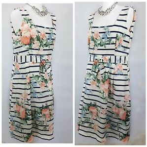 K&D Midi Dress Square Neck Floral Bow Front Stripped Sleeveless Summer A017