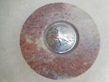 ANTIQUE SILVER HALF DOLLAR COIN MARBLE TRINKET BOX VINTAGE