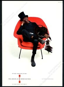1969 Eero Saarinen red chair chimney sweep photo Knoll vintage print ad