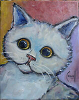 SNEAKY the CAT pet Big Eyes oil painting 8x10 canvas original signed art Crowell