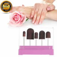 UK 5Pcs Sanding Abrasive Caps Mandrel Surface Burr Beauty Manicure Pedicure NEW