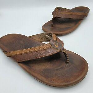 OLUKAI Hiapo Leather Men's Sandals Size 10 EU 43 Rum Dark Wood  Brown Distressed