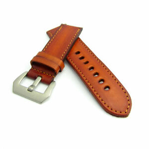 Canyon Red Leather Watch Strap Panerai Style (Steel, 22mm, 24mm) CZ0969