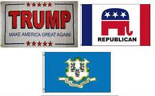 3x5 Trump White #2 & Republican & State of Connecticut Wholesale Set Flag 3'x5'