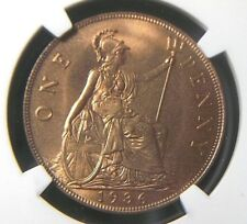 1936 UK Great Britain 1 Penny NGC MS64 RD FULL RED  UNC / BU Luster   7010