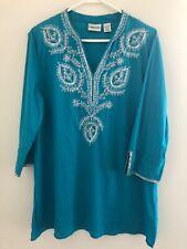 Chico's Women's 2 Tunic Blouse Beaded Embellishment Shimmer Turquoise Blue