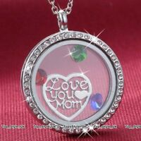 XMAS GIFTS FOR HER Mum Jewellery Crystal Diamond Locket Necklace Mother Women S9