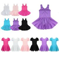 Girls Ballet Dance Leotard Dress Kids Gym Skating Tutu Skirts Dancewear Costumes