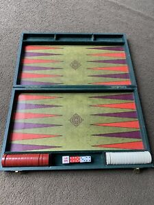 Vintage Backgammon Game Set Brown Faux Leather Folding Briefcase Standard Sized