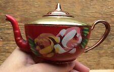Unusual Vintage Metal Painted Teapot/Retro/Hand Painted/Barge Wear