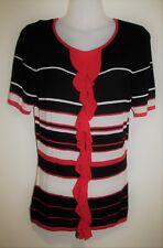LAURA ASHLEY Short Sleeve Black/Red/White Knit Jumper Size Medium M