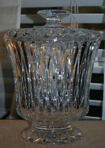 """BLOCK Cut Crystal CHCALET 9 7/8"""" Biscuit barrel Jar & Lid"""