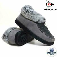 LADIES SLIPPERS WOMEN DUNLOP MEMORY FOAM FUR THERMAL ANKLE BOOTS WARM SHOES sz 7
