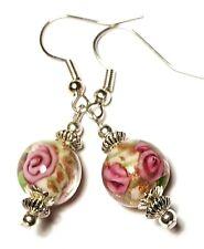 Short Silver White & Pink Earrings Drop Dangle Glass Bead Pierced Hook Artisan