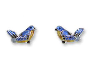 Zarah Jewelry BLUEBIRD Post EARRINGS Sterling Silver Plated Stud Blue Bird + Box