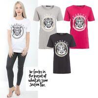 New Women Ladies Girls Celeb inspired Vogue Print Short Sleeve Bodysuit Top 8-14