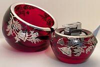 Vintage VIKING Ruby Art Glass Orb Ashtray & Lighter Mid Century Silver Overlay