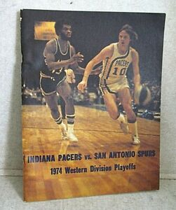 Very Rare! 1974 ABA PLAYOFFS SAN ANTONIO SPURS v INDIANA PACERS Program 60 pages