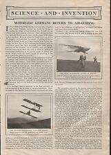 Motorless Germans Return to Air Gliding - Chanute, Klemperer, Lilienthal, Ziese