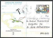 ITALIA Tarjeta Postal Descubrimiento de America Circulada a Bélgica