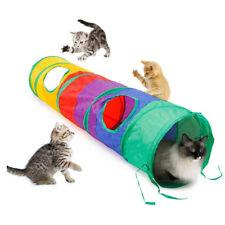 Foldable Rainbow Cat Play Tunnel 2 Holes Collapsible Portable Rabbit Kitten Pet