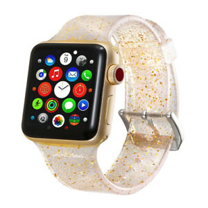 Apple Watch Series 4 40/44mm Clear Shiny Glitter Silicone Strap iWatch Band Gold