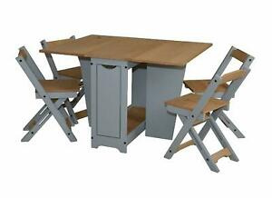 Ellingham Drop Leaf Butterfly Dining Set with 4 Chairs in Pine Grey