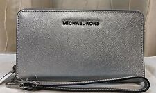 Michael Kors MK jet set silver leather large zip phone wallet wristlet New