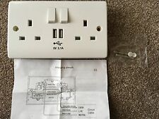 UK Mains 13A 2 Gang Double Power Wall Socket Face Plate USB Charge Outlet Port